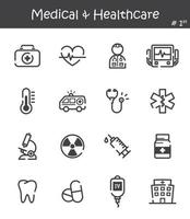 Conjunto de ícones de linha médica e de saúde 1 vetor