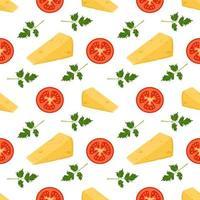 Padrão sem emenda com queijo, tomate e salsa impressão bonita para menus de pizza cafés e restaurantes vetor