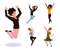 grupo de mulheres pulando e dançando celebrando o set vetor