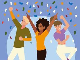 grupo feliz de amigos comemorando decoração de confetes de festa vetor