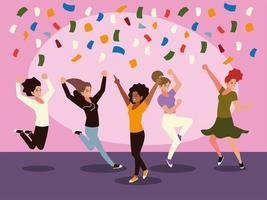 alegre grupo de mulheres pulando comemorando confetes festivos vetor
