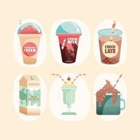 seis produtos lácteos vetor