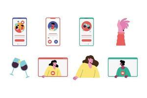 pacote de oito ícones de conjunto de aplicativos de amor online vetor