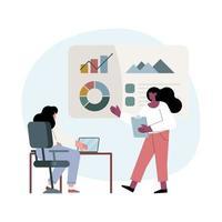 personagens inter-raciais de mulheres de negócios vetor