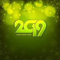 Resumo feliz ano novo 2019 fundo verde vetor