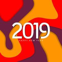 Feliz ano novo 2019 colorido fundo decorativo vetor