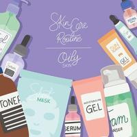 conjunto de ícones de cuidados com a pele, rotina de cuidados com a pele e letras de pele oleosa em um design de ilustração vetorial de fundo roxo vetor