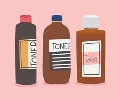 conjunto de toner para design de ilustração vetorial de cuidados com a pele vetor