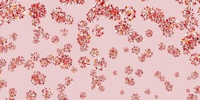 padrão de vetor laranja claro com flocos de neve coloridos