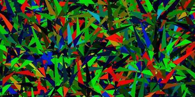 layout de vetor multicolorido escuro com triângulos de linhas
