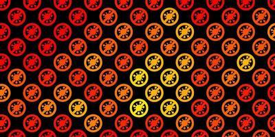 textura vetorial laranja escura com símbolos de doenças vetor