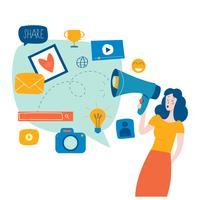 Mídias sociais, redes sociais vetor