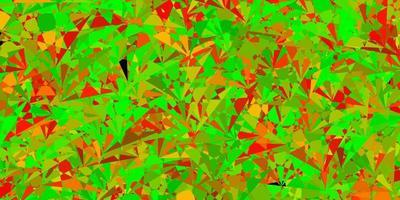 layout de vetor vermelho verde escuro com formas triangulares