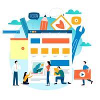 Desenvolvimento de sites, construção de sites, processo de construção de páginas web, layout de site e design de ilustração vetorial plana de desenvolvimento de interface
