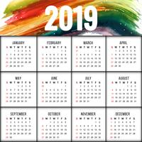 Resumo novo ano 2019 design calendário colorido vetor