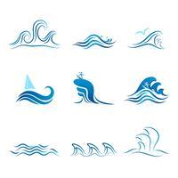 Conjunto de símbolo de onda vetor
