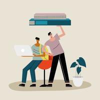 casal de rapazes levantando livros e usando personagens de laptop vetor