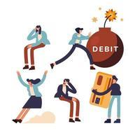 conjunto de ícones de débito e pessoas design de vetor