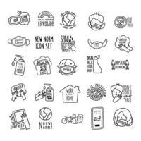 pacote de vinte e cinco novas inscrições de norma ícones de estilo de linha de conjunto de campanha vetor