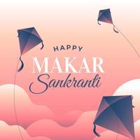 Feliz Makar Sankranti saudação vetor