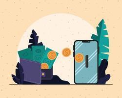 notas em moedas da carteira e design de vetor de smartphone
