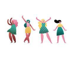 grupo de personagens de avatares de quatro garotas vetor