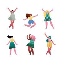 grupo de personagens de seis avatares de garotas vetor