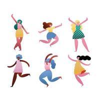 grupo de seis personagens femininos de avatares vetor