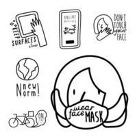 pacote de seis novas letras de norma ícones de estilo de linha de conjunto de campanha vetor