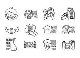 pacote de doze novas letras de norma ícones de estilo de linha de conjunto de campanha vetor