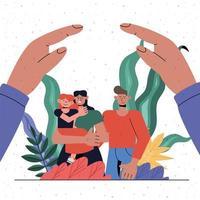 proteção familiar de mãe, pai e filha sob desenho vetorial de mãos vetor