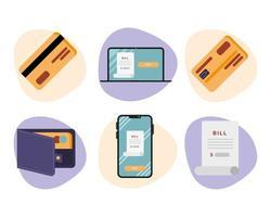 desenho vetorial conjunto de ícones de débito vetor