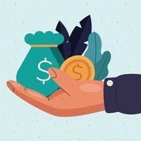 saco de dinheiro e moeda disponível desenho vetorial vetor