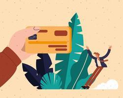 mão segurando cartão de débito e desenho vetorial de homem vetor