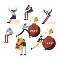 desenho vetorial de coleção de ícones de débito e pessoas vetor