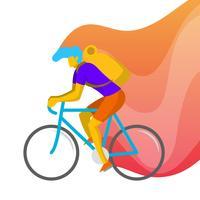 Ilustração em vetor plana homem bicicleta