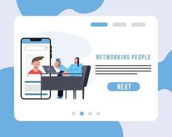 rede de pessoas e mulher em design de vetor de mesa