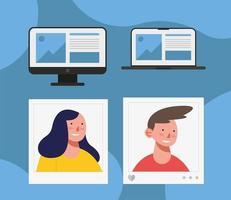 design de vetor de perfis de homem e mulher de mídia social