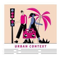 Desenho de mulher e homem urbano e urbano com desenho vetorial de gravador vetor