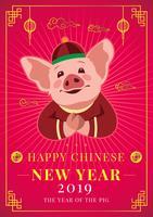 Conceito de porco ano novo chinês vetor