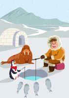 Esquimós com amigos vetor