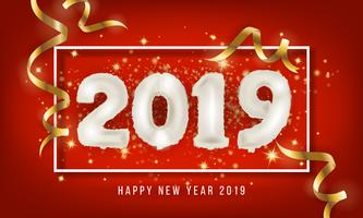 2019 feliz ano novo cartão fundo. Vecto de balão de 2019 vetor