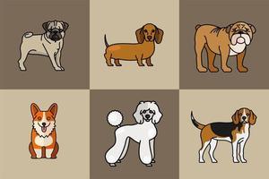 seis cachorros mascotes criam personagens vetor