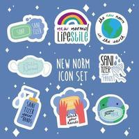 pacote de oito novas letras de normas campanha conjunto de ícones de estilo simples vetor