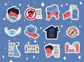 pacote de doze novas letras de normas campanha conjunto de ícones de estilo simples vetor
