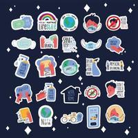 pacote de vinte e cinco novas letras de normas campanha conjunto de ícones de estilo simples vetor