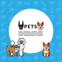 cinco cães mascotes criam personagens com letras em moldura circular vetor