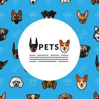 cachorros, mascotes, raça, personagens, cabeças, padrão vetor