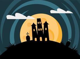 cartão de feliz dia das bruxas com castelo assombrado e lua cheia vetor