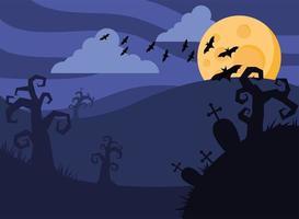 cartão de feliz dia das bruxas com morcegos voando e lua cheia vetor